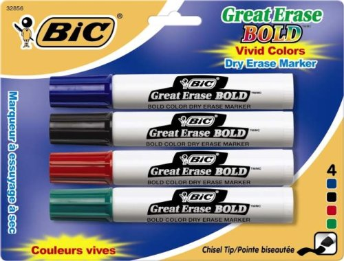 (BIC Great Erase BOLD Dry Erase Marker, Tank Style, Chisel Tip, Assorted Colors, 4-Count )