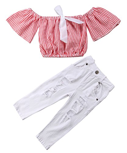 (Urkutoba Baby Girls Striped Off Shoulder Crop Tops Shirt with Bowknot + Denim Ripped Holes Skinny Jeans Long Pants (Red, 100/3-4 Years))
