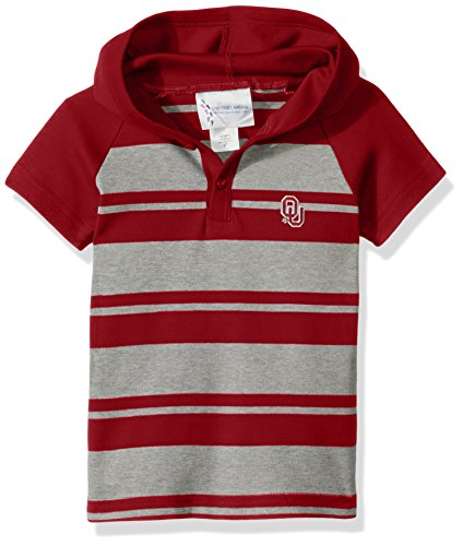 Oklahoma Rugby Sooners - Two Feet Ahead NCAA Oklahoma Sooners Toddler Boys Rugby Short Sleeve Hooded Shirt, Size 2, Crimson/Heather