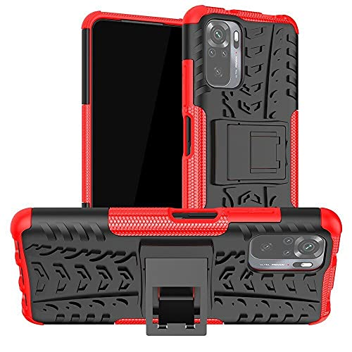 Prime Retail Shockproof Kickstand Back Case Cover for Redmi Mi Note 10 Pro Max   Red
