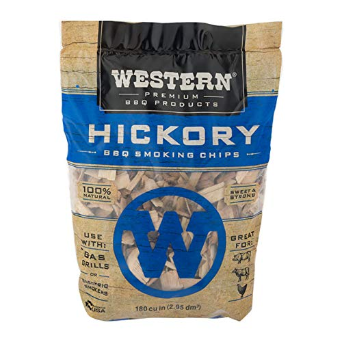Western Premium BBQ Products Hickory BBQ Smoking Chips, 180 cu in (The Best Chips Ever)