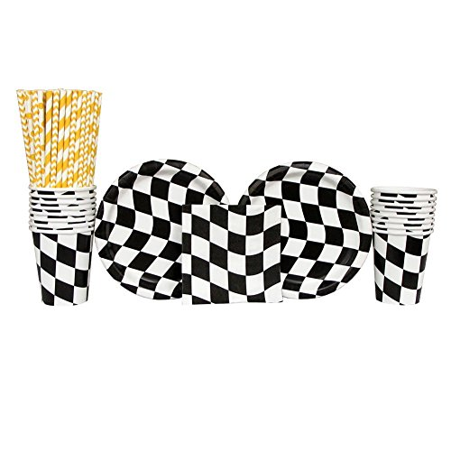 Black & White Checkered Party Pack for 16 Guests: Straws, Dessert Plates, Cups, and Beverage Napkins -