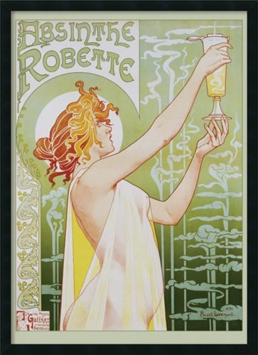 Liquor Art Poster (Framed Art Print, 'Robette Absinthe, 1896' by Privat Livemont: Outer Size 25 x 37