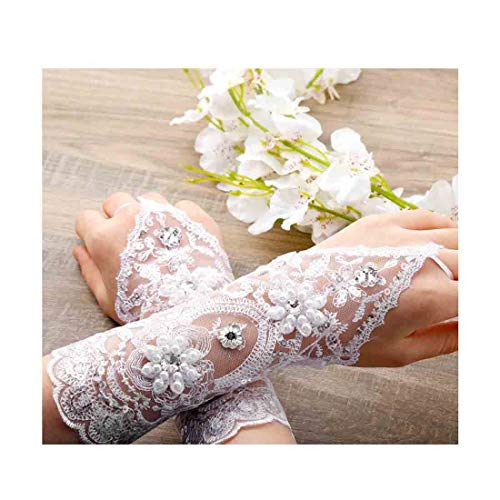 (Olbye Women' Wedding Lace Gloves Bridal Fingerless Tulle Gloves Crystal Sequins Wrist Cuffs White Hook Finger Gloves (With bead))