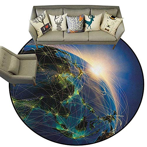 World,All Weather mats Vivid Globe of World in Space Covered by Luminous Network and Rising Sun Image D36 Bath Mat Set Kitchen Door