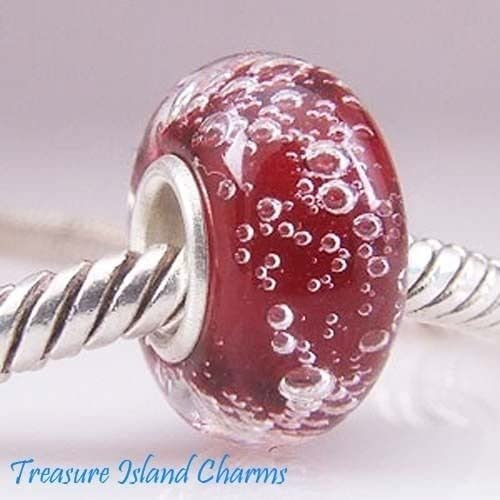 RED Bubbles LAMPWORK Murano Glass .925 Solid Sterling Silver European Bead Charm