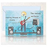 Personalized Teddy Bear Guitarist Birthday, Hope, Inspiration Card, Hand Drawn Musician On Stage With Electric Guitar Original Poetry Greeting Card -  Whispering Wings