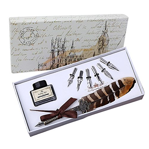 Feather Quill Pen Set Dip Pen with Ink Vintage Feather Calligraphy Ink Pen Quill Fountain Pen in Gift Box with 6 PCS Nibs, Birthday Wedding Christmas Gift Set from OPENDGO