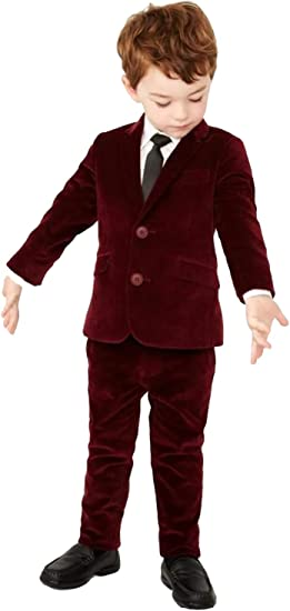P/&G Boys Three Pieces Suit Velvet Two Buttons Wedding Party Formal Tuxedo