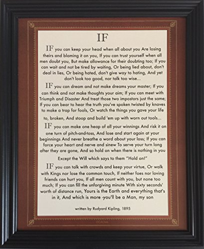 (Desiderata Gallery Brand, Framed If Quote (Written in 1895) Rudyard Kipling (Author of The Jungle Book) Made in America 10x12)