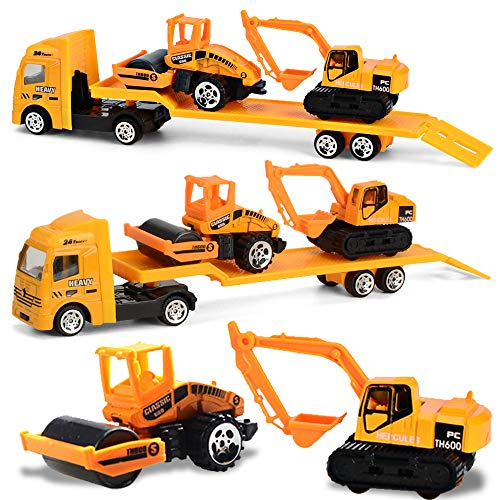 Minyn Construction Truck Toy Set with Flatbed Tractor Trailer Die Cast Metal Vehicles Engineering Digger Car Playset Excavator Steamroller Toy for Kids Boys Girls Toddlers
