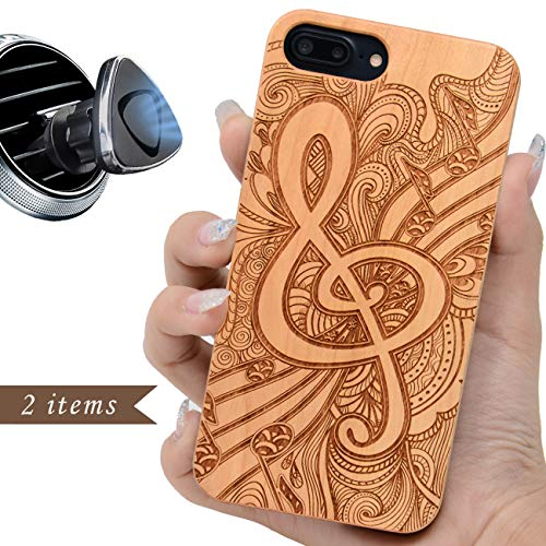 iProductsUS Music Phone Case Compatible with iPhone 8 7 6/6S Plus (ONLY) and Magnetic Mount-Wood Cases Engraved Music Sign and Pattern, Built in Metal Plate, TPU Shockproof and Protective Cover (5.5