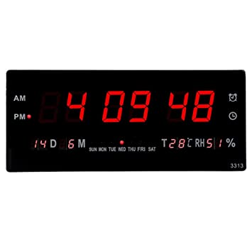 XJYA Reloj Digital Pared medidor Temperatura Calendario Fecha Dia Semana led Rojo 220v