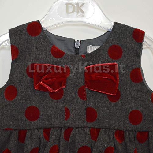 Pois Per Rosso Elegante DR KIDS a Grigio 383 ROSSO Neonata Abito OHS6qwI