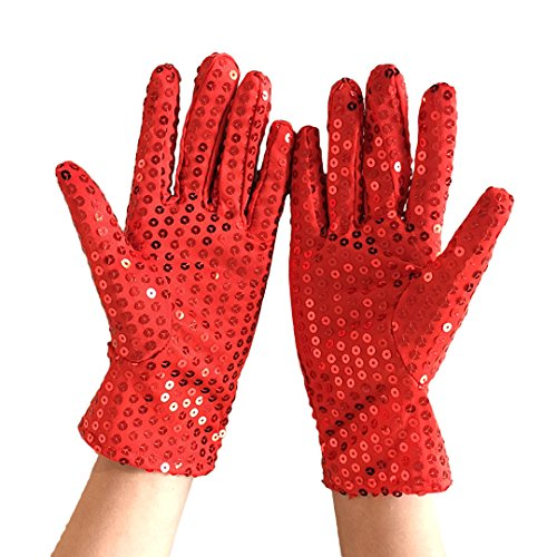 Haoohu Adult Child Costume Dress up Dance Sequin Gloves for Cosplay Party Halloween (Red Adult Size)