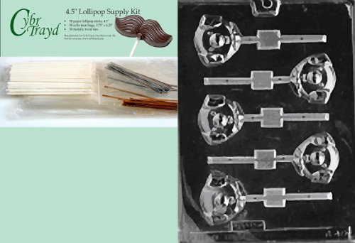 Cybrtrayd 45StK50-A040 Pig Head Lolly Animal Chocolate Candy Mold with Lollipop Supply Kit