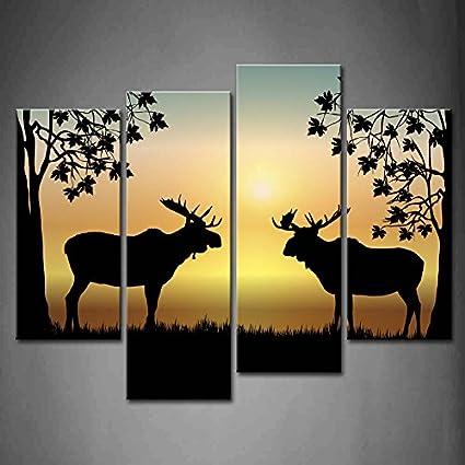 Amazon.com: First Wall Art - 4 Panel Wall Art Moose At Sunrise ...
