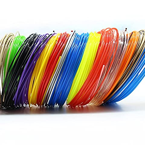 3D Printer Filament For 3D Print Pen Multicolor Pack 1.75mm PLA - 320 Linear Feet with Total of 20 Different Colors in 16 Foot - 16 Linear Feet