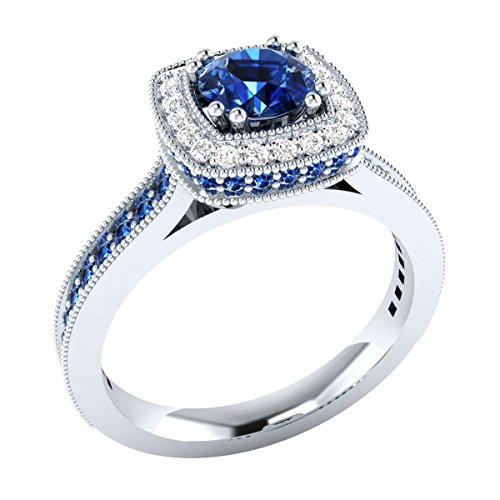 0.10 cttw Diamond Solid 14k White Gold Wedding Engagement Ring W/ Simulated Blue Sapphire 8 - 0.10 Cttw Natural