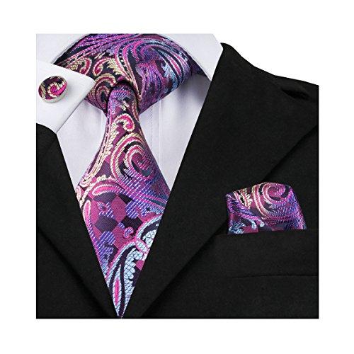 Barry.Wang Purple Paisley Ties Handkerchief Cufflinks Set for Wedding (Cufflinks Square Purple)