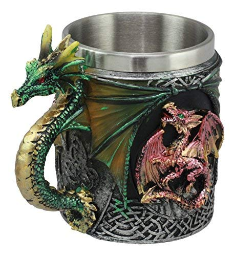 Ebros Myths And Legends The Conception Of Red Fire Oberon Dragon Beer Stein Tankard Coffee Cup Mug With Green Dragon Handle Great Gift For Dragon Lovers Party Hosting GOT Hobbit ()