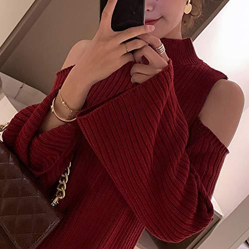 Punto Falda Para s Versátil Delgado Hombros Nuevo Vestido Mujer Corta 2019 De Gzz Trompeta Rojo Descubiertos Mangas wa7qP5C8