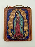 Guadalupe handmade art wall hanging Virgin Mary Our Lady of Guadalupe Retablo painting icon Blessed Mother of Mexico Spanish art gold blue red angel catholic devotion 5 x 6 inch gift