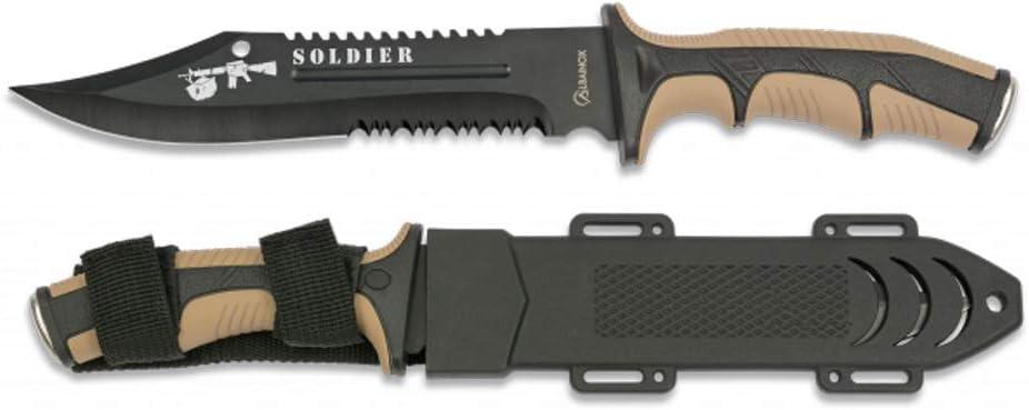 Tiendas LGP Albainox - 32406 - Cuchillo Albainox Soldier Coyote. H:19cm - Herramienta para Caza, Pesca, Camping, Outdoor, Supervivencia y Bushcraft