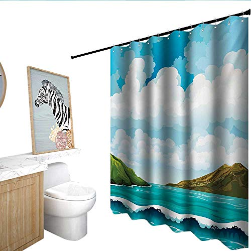 homecoco Sea Flower Shower Curtain Seascape with Waves Islands and Cloudy Blue Sky Tranquil Exotic Shores Cartoon Style Modern Shower Curtain Multicolor