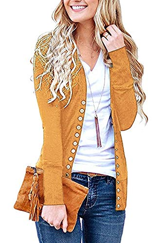 Basic Faith Women's S-3XL V-Neck Button Down Knitwear Long Sleeve Soft Knit Casual Cardigan Sweater Mustard L