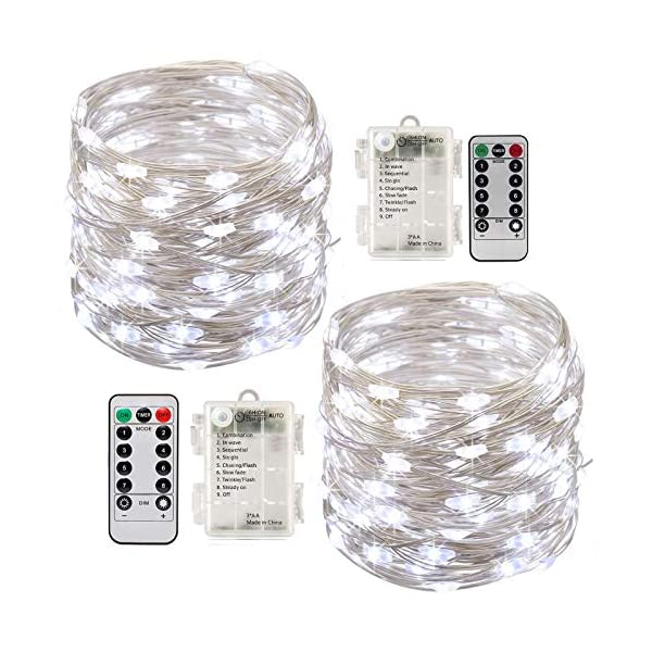 Stringa Luci Led,[2 Pack]Catene Luminose 10 metri 100LEDs Stringa Luci LED Impermeabile IP65 per Uso Interno ed Esterno per Decorazioni Festive e Natale (bianca) 1 spesavip