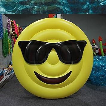 Queta - Colchón Hinchable con diseño de Emoticono Gigante, Flotante, para Piscina, Fiesta, Piscina de Verano, Color Amarillo: Amazon.es: Informática