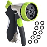 VicTsing Garden Hose Nozzle Spray Nozzle, Metal Water Nozzle with Heavy Duty 8 Adjustable Watering Patterns, Slip and Shock Resistant for Watering Plants, Cleaning, Car Wash and Showering Pets