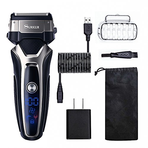 SURKER Men's Foil Shaver Electric Trimmer Razor Professional Foil Shaver Rechargable Waterproof LED Display Turbo Speeded-up Function with Pop-up Hair Trimmer Black Gift for Father Boyfriend For Sale