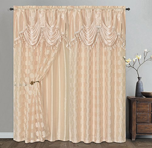 CIRCLE CYCLE. Clipped voile/ voile jacquard window curtain panel drape with attached fancy valance & taffeta backing. 2pcs set. Each pc 54