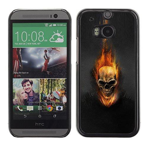 Price comparison product image DesignCase Premium Slim PC / Aluminium Case Cover Armor Shell - Dark Flam Skull - HTC One M8