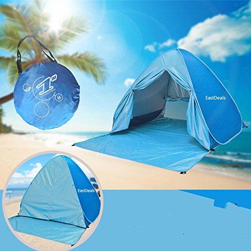 Neuf avec fermeture à glissière Porte Pop Up Portable Tente de plage extérieur anti UV Plage Abat-jour Tente Abri Soleil automatique instantanée Famille Cabana pour camping Plage Pêche Jardin bleu