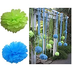 Fonder Mols Blue Green Tissue Paper Pom Poms Flowers for Boy's Baby Shower 1st Birthday Easter Classroom Office Decorations(Set of 12pcs, 8inch 10inch)