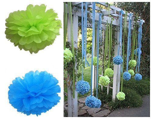Fonder Mols Blue Green Tissue Paper Pom Poms Flowers for Boy's Baby Shower 1st Birthday Easter Classroom Office Decorations(Set of 12pcs, 8inch 10inch)]()