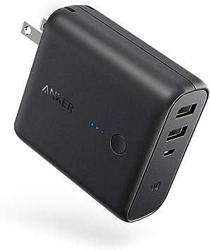 Anker PowerCore Fusion 5000 (モバイルバッテリー 搭載 USB充電器 5000mAh) 【PSE認証済/コンセント 一体型/PowerIQ搭載/折りたたみ式プラグ】 iPhone iPad Android各種対応 (ブラック)