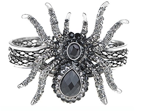 (Alilang Silvery Metal Spider Bangle Bracelet)