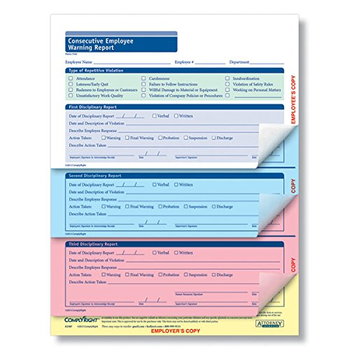 ComplyRight Consecutive Employee Warning Report 4 Part 50PK by ComplyRight
