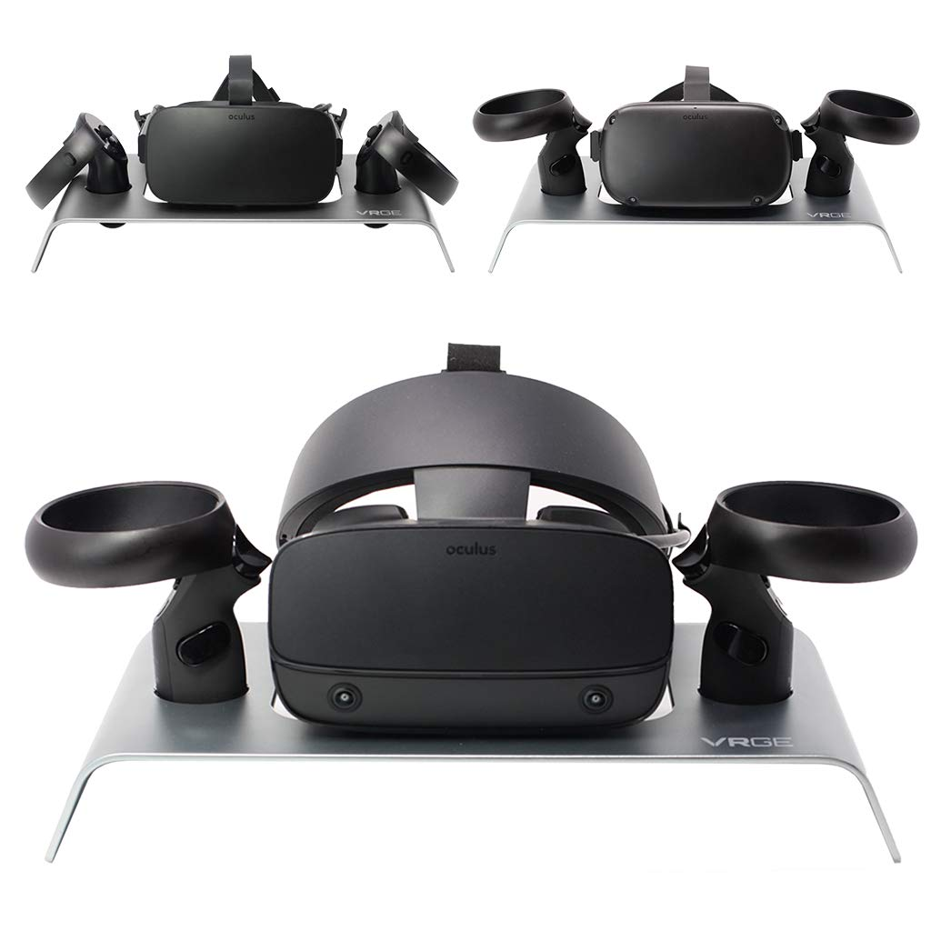 VRGE VR Stand - Aluminum Display and Organizer Stand For Oculus Rift, Oculus Rift-S and Oculus Quest Headsets and Controllers