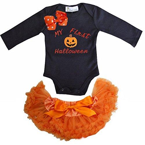 Kirei Sui Baby Orange Pettiskirt First Halloween Pumpkin Black Bodysuit Outfit X-Small (Halloween Pettiskirt Outfits)