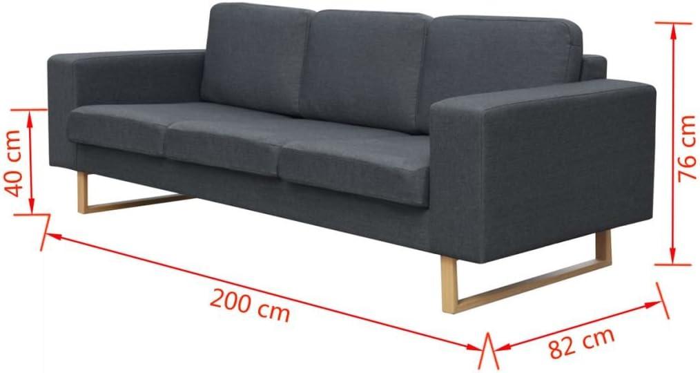 Festnight Bequeme Sofa 3-Sitzer-Sofa Couch Loungesofa Wohnzimmersofa Stoffsofa Holzrahmen Dunkelgrau 200 x 82 x 76 cm