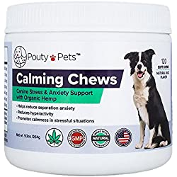 Pouty Pets Calming Dog Treats - Chews for Dogs With Natural Organic Hemp Oil, Passion Flower & Tryptophan - Puppy Training Treats - For Pet Anxiety & Stress Relief - 120 Soft Chews - Made in USA
