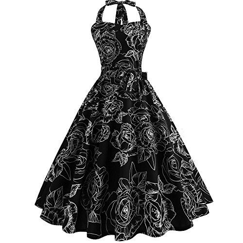 iLUGU Women Vintage Sleeveless Halter Evening Party Prom Swing Dress S ()