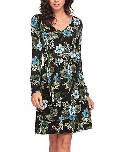 Zeagoo Women's Printed Long Sleeve Midi Dress Made in China Black L