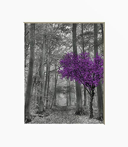 - Black White Purple Wall Decor, Forest Path, Tree Art, Matted 5x7, 8x10, 11x14 Purple Gray Home Decor