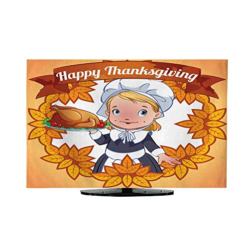 Miki Da Outdoor tv Cover Flat Screen tv Cover 40/42 inch Postcard Happy Thanksgiving Day Cute Indian